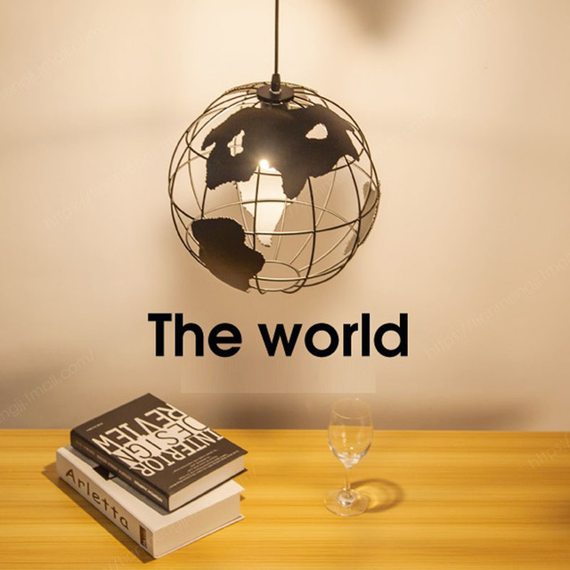 Earth lamps pendant lights Iron circular living room lamp study children's restaurant bar dining room LED hanging light fixture chinese style iron lantern pendant lamps living room lamp tea room art dining lamp lanterns pendant lights za6284 zl36 ym