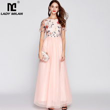 Lady Milan Womens O Neck Short Sleeves Embroidery Bodice Fashion Party Prom Long Elegant Designer Runway Dresses