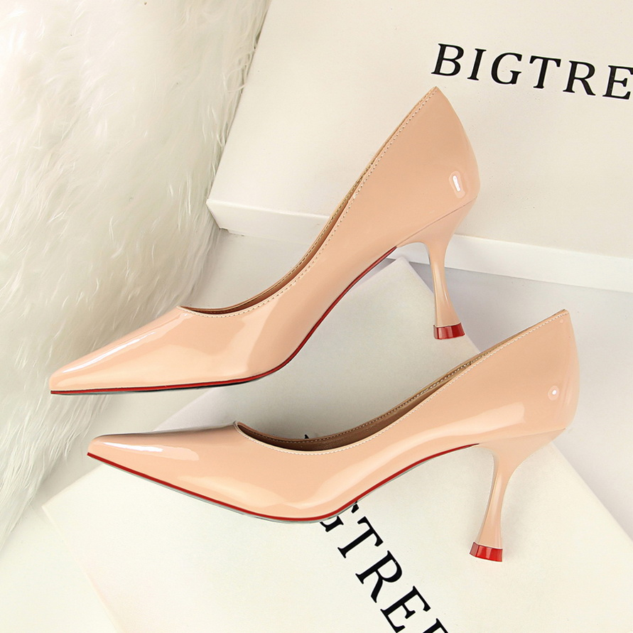 29f4dd06a51 US $20.27 48% OFF|HENGSCARYING Women 7cm High Heels Pumps Leather Strange  Med Heel Female Scarpins Office Pointed Toe Tacons Nude Pink Pumps Shoes-in  ...