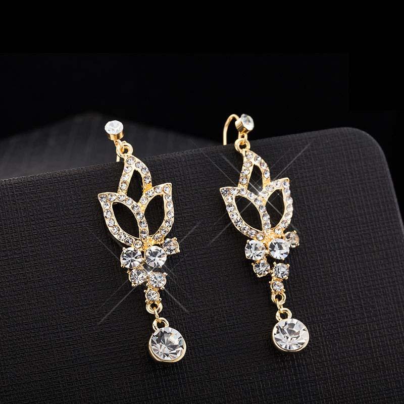 Bing Tu Gold Color Women Girls Bridal Long Crystal Dangle Earrings ...