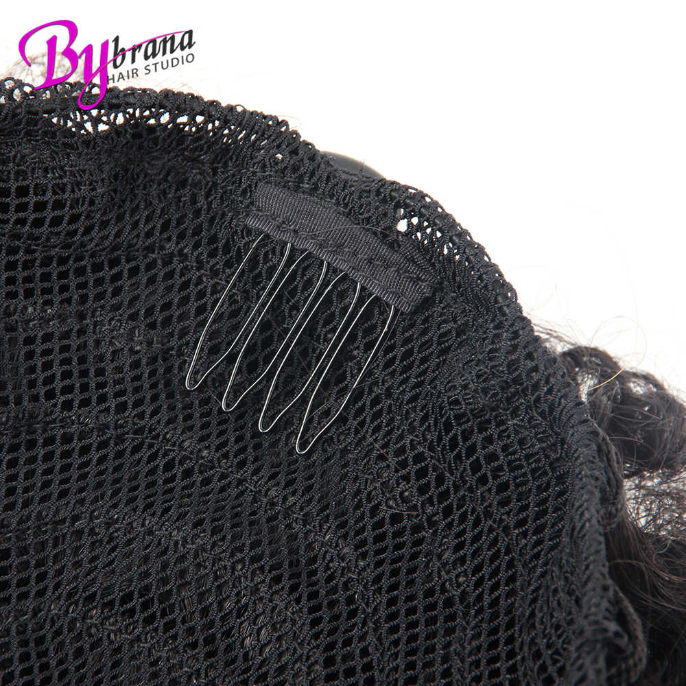 Afro Kinky Curly Ponytail Chignon For Women Natural Black Remy Hair Clip In Ponytails Drawstring 100% Human Hair Extension 1 PCS