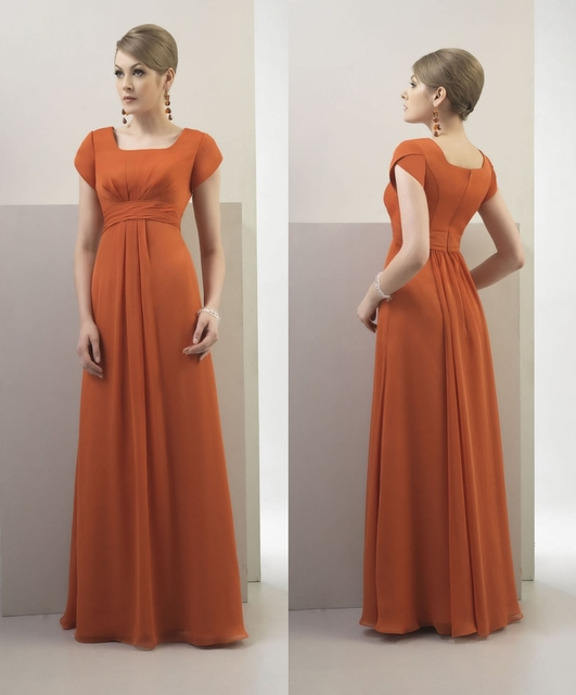Burnt Orange Chiffon Long Modest Bridesmaid Dresses With Cap Sleeves