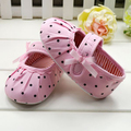 1 Pair Kids Baby Girl Pink Polka Dot Soft Sole Crib Shoes Prewalker First Walker Shoes