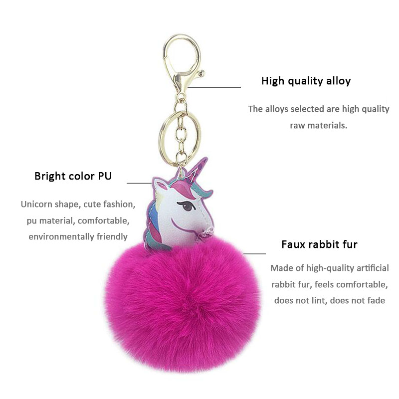 Car Keychain New Double sided PU Unicorn keychain Car Keys Car Hang Girl Bag Pendant Jewelry Accessories Key Rings Wholesale in Key Rings from Automobiles Motorcycles