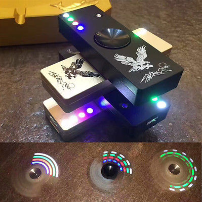LED Flash Light Alloy Tri Spinner Hand Spinner USB Cigar Lighter Fidget Toy EDC