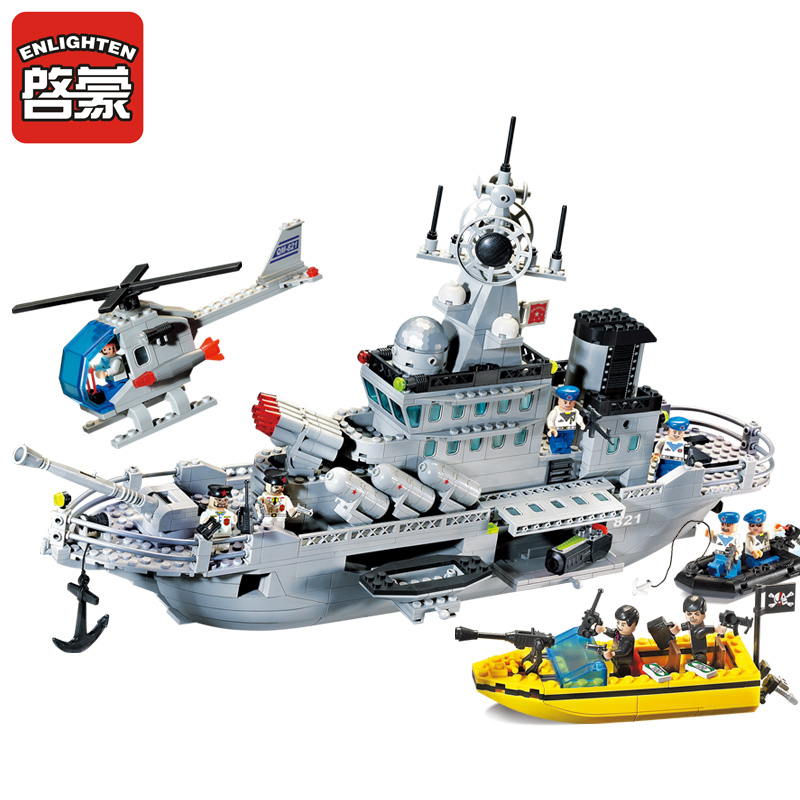 Enlighten Blocks Missile Cruiser Model Building Blocks 843+pcs DIY Blocks Playmobil Plastic Brick Educational Toys For Children enlighten military series missile cruiser building blocks sets 843pcs educational construction bricks diy toys for children 821