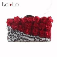 EB750 Custom Made Burgundy Wine Red Flower Crystal Evening Bag Clutch Bags Clutches Lady Wedding Purse