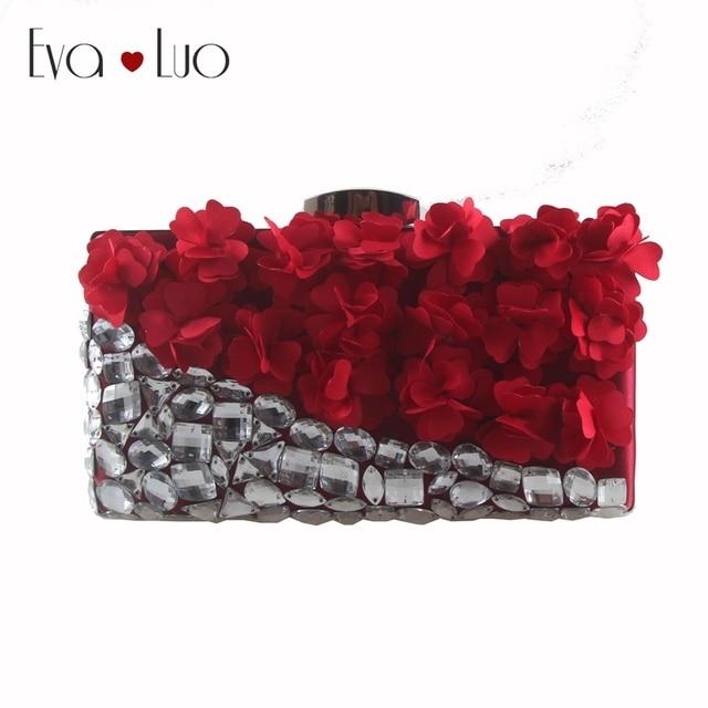 fa8c0eb130 US $89.0 |EB750 Custom Made Burgundy Wine Red Flower Crystal Evening Bag  Clutch Bags Clutches Lady Wedding Purse Rhinestones Wome Handbags-in ...