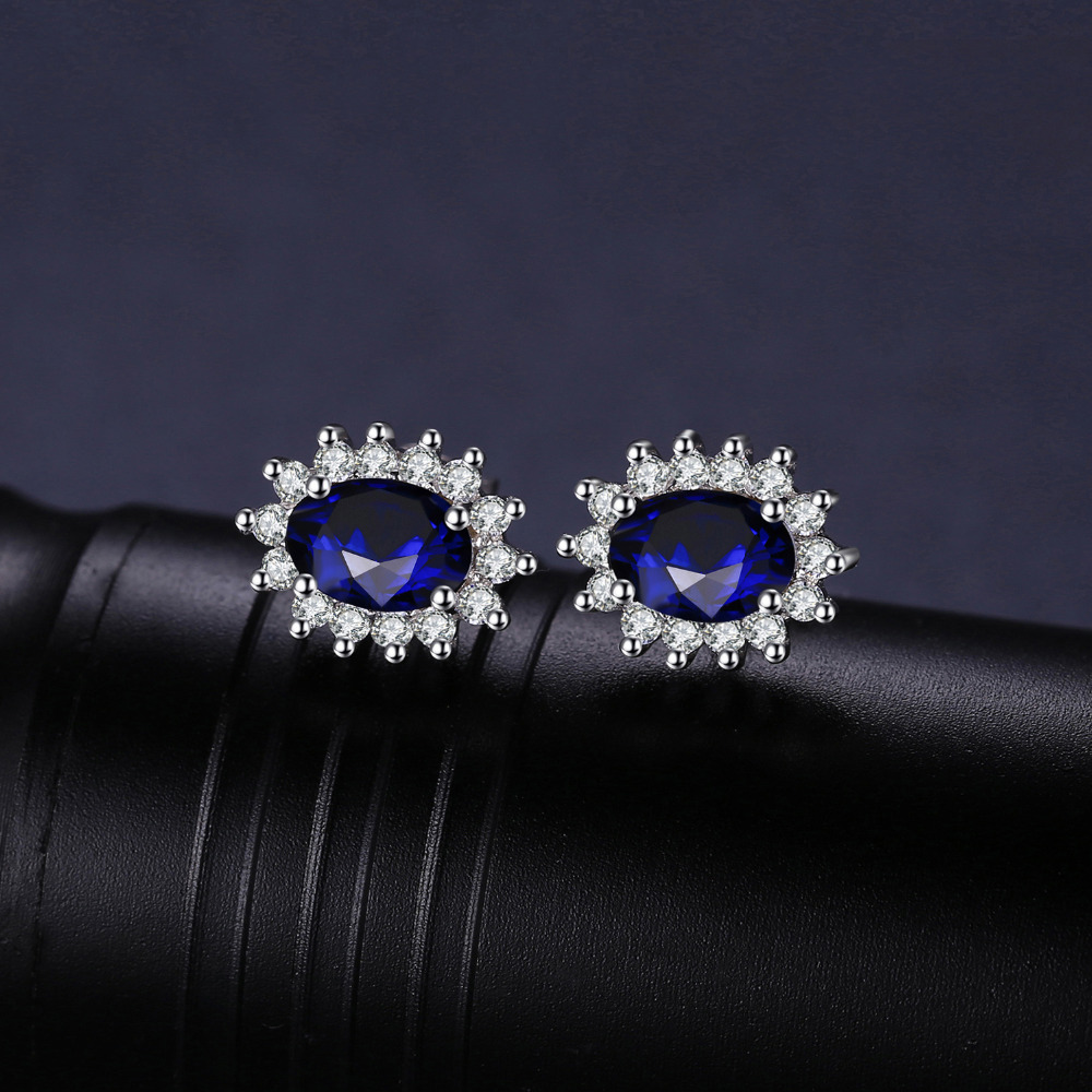 JewelryPalace 1.5ct Oval Blue Sapphire Earrings Stud 925 Sterling - Fijne sieraden - Foto 2