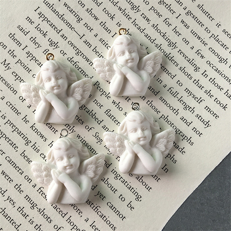 5pcs White Wing Angel 3D Resin Charms For Jewelry Findings Cute Girl Necklace Pendant Eardrop Earrings Accessory F348(China)