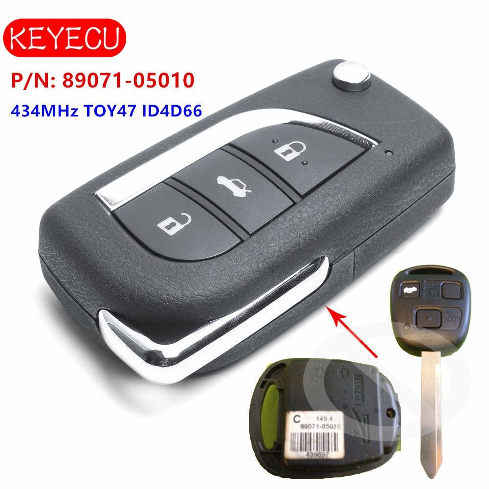 Keyecu Upgraded Remote Key Fob 434MHz ID4D66 For Toyota Yaris Avensis Corolla Carina ETC P/N: 89071-05010 TOY47