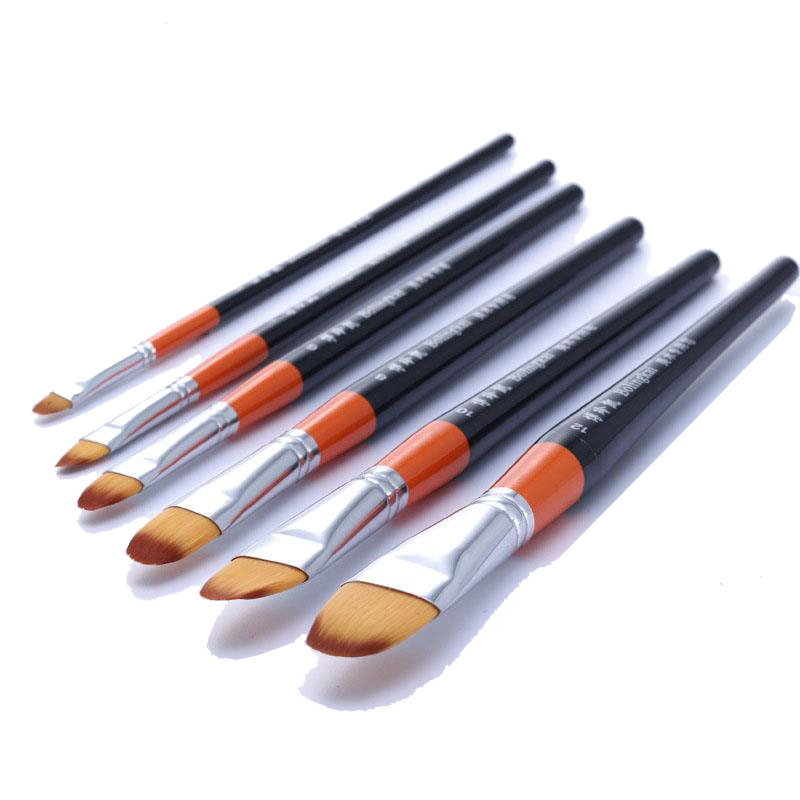 6pcs/Set Flat Head Painting Pen Nylon Hair Wooden Red Rod Brush Pen Watercolor Brush  Industry Acrylic Brush Art Supplies