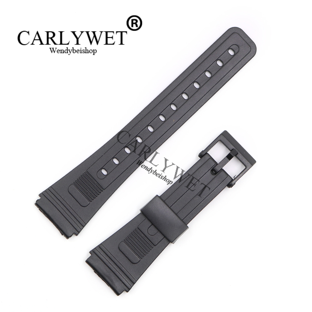 CARLYWET 20mm Men Lady Black Replacement Silicone Rubber Straight End watch band Strap Loop With Black Plastic Pin Buckle carlywet new style men women black strap silicone rubber replacement watch band belt special popular