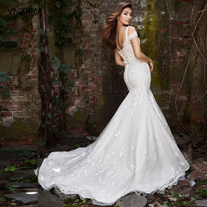 VNXIFM 2019 Sexy full Lace Sweetheart Neck Mermaid Wedding Dresses White Satin Mermaid Bridal Gowns Unique Robe in Wedding Dresses from Weddings Events