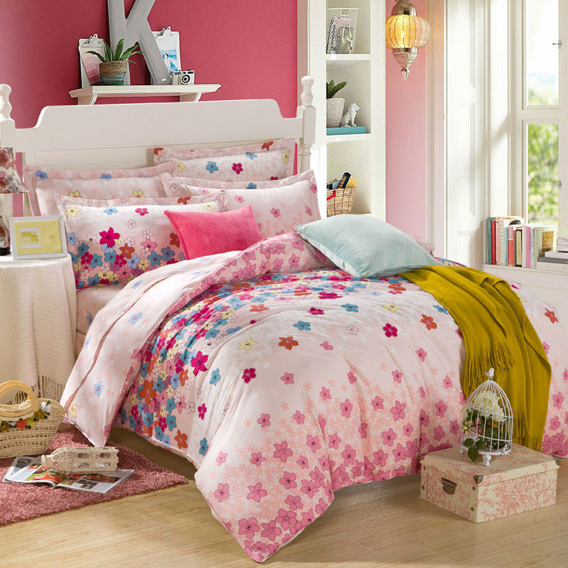 combing cotton colorful flowers floral bedding soft pink background duvet cover set queen double size bedsheet
