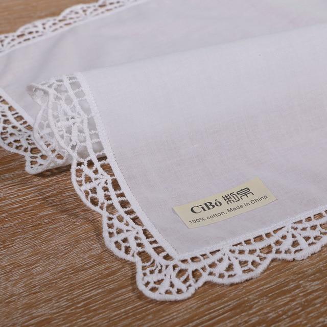 D003: blanco premium pañuelos de encaje de algodón blanco ganchillo ...