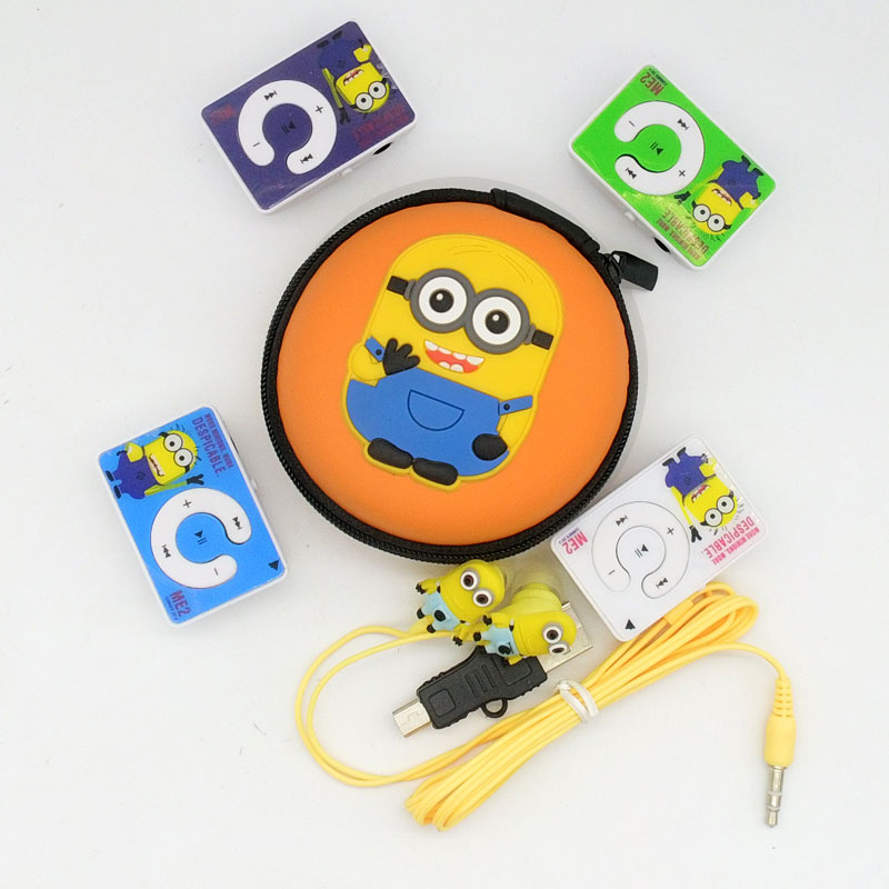 New Cartoon Minions Despicable Me Superman MP3 Music Player 4 Kinds Color With Earphone Cable And Packaging Earphone Cool