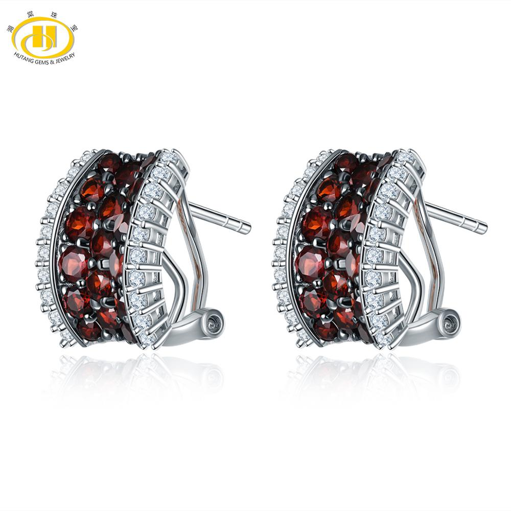 Hutang Garnet Clip Earrings Natural Gemstone Topaz Solid 925 Sterling Silver Fine Elegant Jewelry for Women