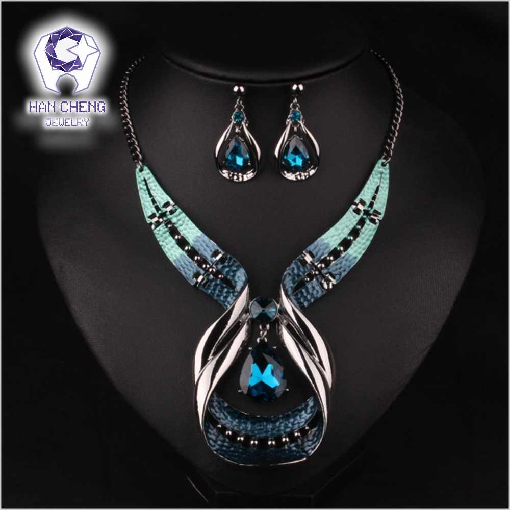 HanCheng Fashion Luxury Big Paint Alloy Water Drop Created Crystal Statement Maxi Choker Necklace Women Jewelry collier femme