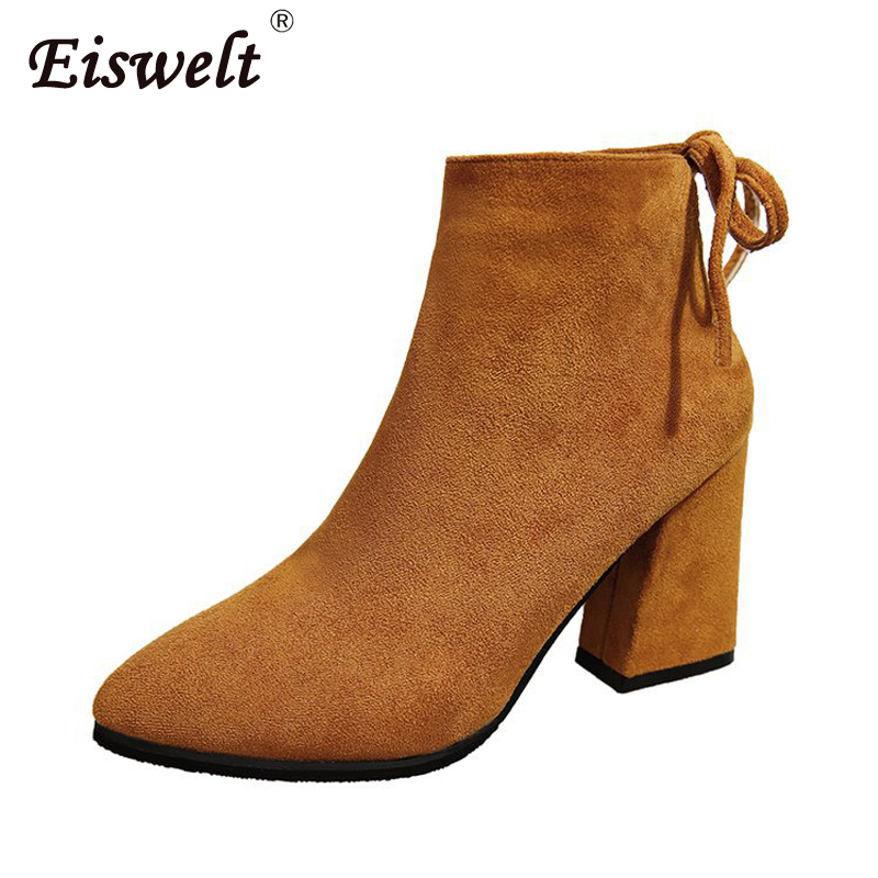 EISWELT Women Boots Flock Ankle Boots Round Toe Winter Female Shoes Ladies Party Western Stretch Fabric Women Fashion Boots