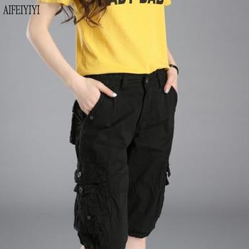 Denim Pantalon Femmes 2019 Army Green Loose Knee Length Multi-Pocket Baggy Jeans Cargo Short Pants Men/Womens Military Trousers 4