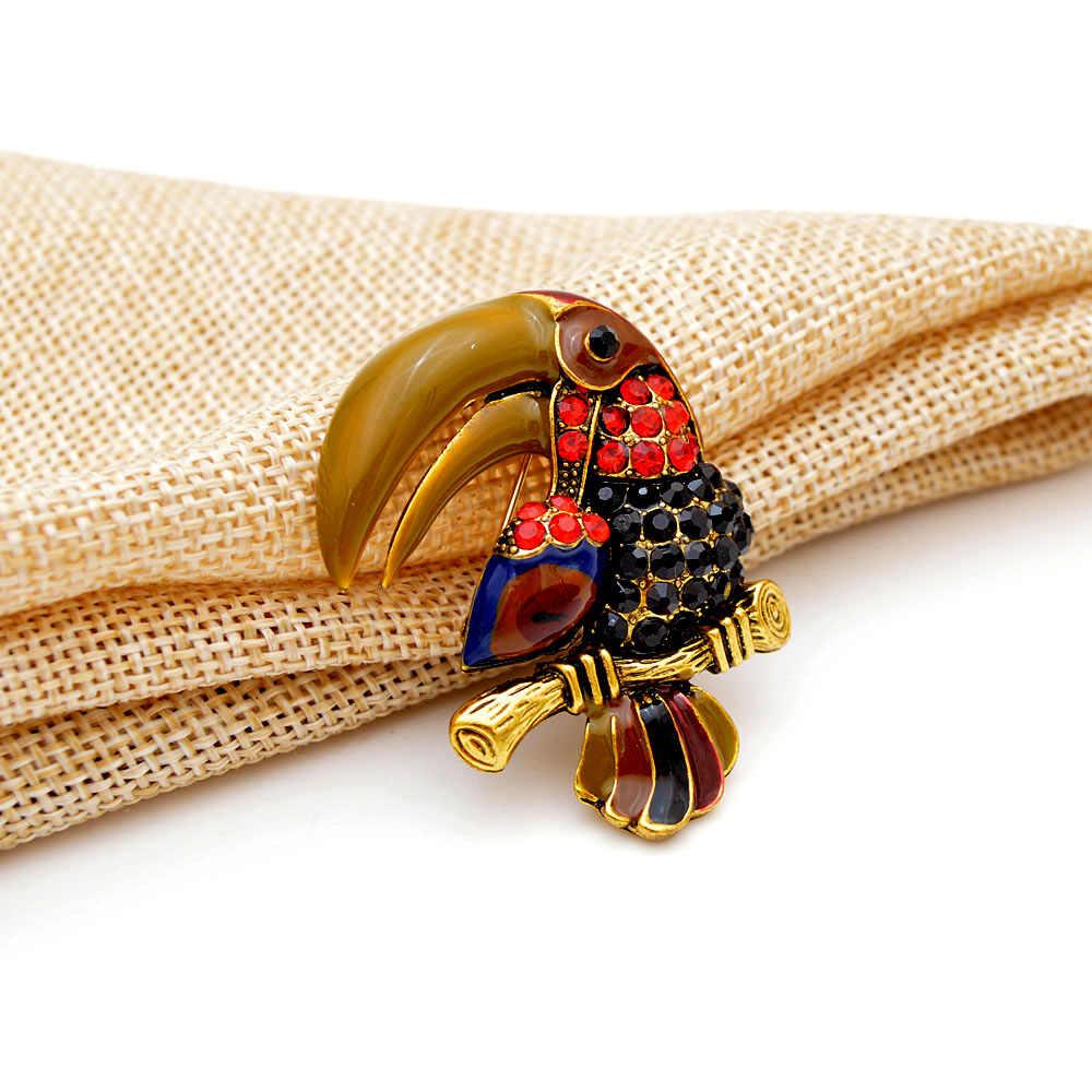 CINDY XIANG Bella Vintage Parrot Spille per Le Donne del Rhinestone di Modo Brooch Animale Spille Accessori del Vestito Del Cappotto Degli Uomini di Stile