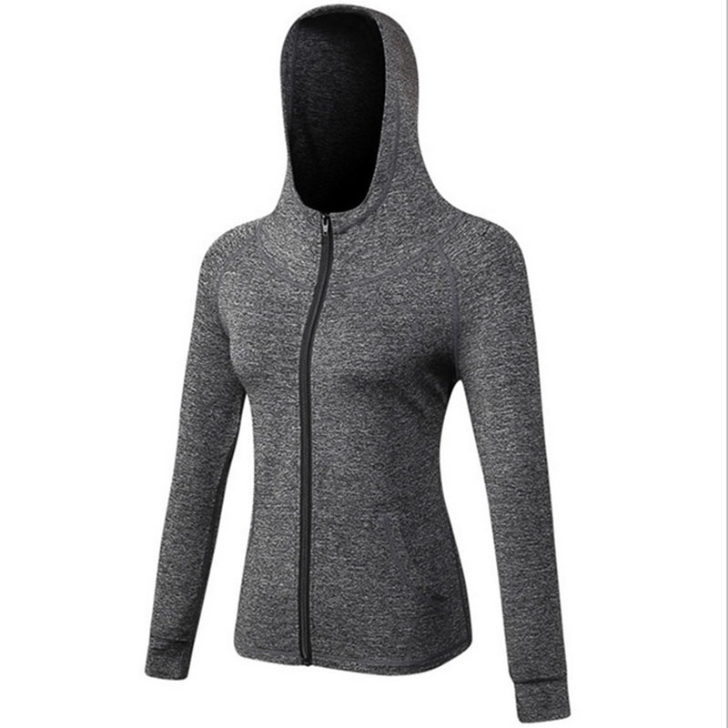Image 5 - Female Running Zipper Jacket Coat Women Sports Yoga Training Hooded Workout Fitness Breathable Tops Long Sleeve Gym Sweatshirts-in Running Jackets from Sports & Entertainment on AliExpress
