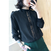 100% natural silk Blouses OL Solid Color Long Sleeve Real Silk brown/Black lace Blouse Tops for women office Wear work Blouses