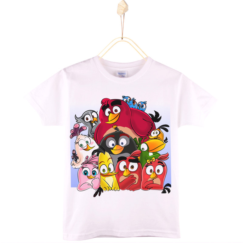 2017 New Children Clothes Bird Kids T-shirt 100% Cotton Knitted White Angry Boys T Shirts Baby Tops Girls Clothing Free Shipping bewell 2016 fashion wood quartz watch men wooden brand luxury analog display wristwatch relogio masculino gift box 065a