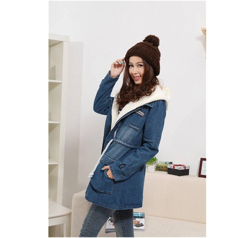 Épaissir Femmes Veste Jeans Nouvelle Coton Mince Dark Manteau Blue Dame Style Denim Rembourré Chaud Pardessus Blue Fourrure À En Coréenne Longue light Hiver Capuche 9IWEH2YeD