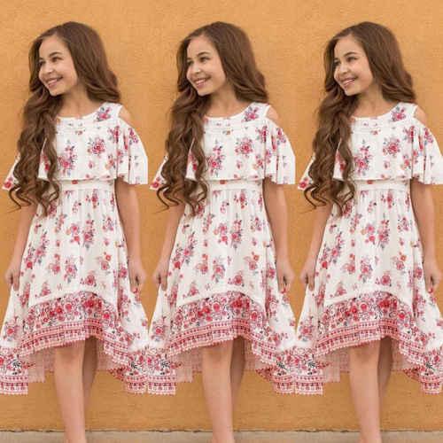 60641e949b329 Princess Summer Boho Dress Floral Off Shoulder Dress Kids Baby Girls Flower  Party Girls Formal Dress Beach Sundress Clothes