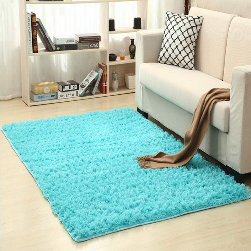 Blue Living Room Carpet European Fluffy Mat Kids Room Rug