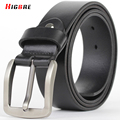 Alloy Pin Buckle Genuine Leather Belt Men Black Waistband Famous Men Fashion 2016 Pure Leather Belts Mens Cintos Para Homens