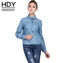 HDY Haoduoyi Slim Preppy Style  Shirt Women Blouse Tie Front Long sleeve Blouse Casual Single Breasted Blouse Women Blusas