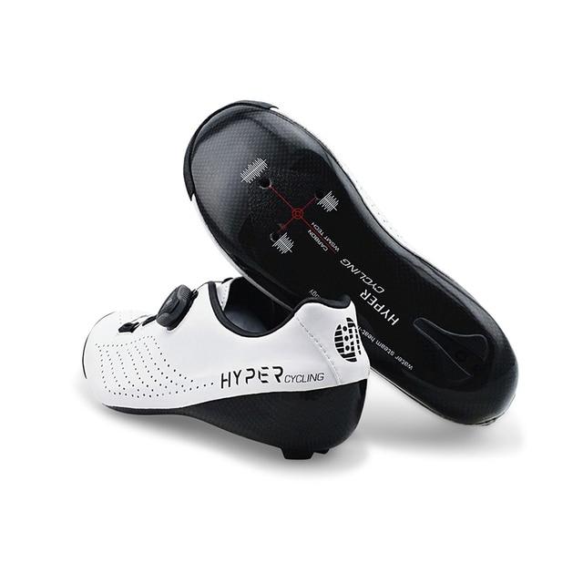 Hyper original ciclismo sapatos calor moldável 3 k fibra de carbono bicicleta de estrada tênis 1 cadarços auto-bloqueio termoplástico bicicleta 2