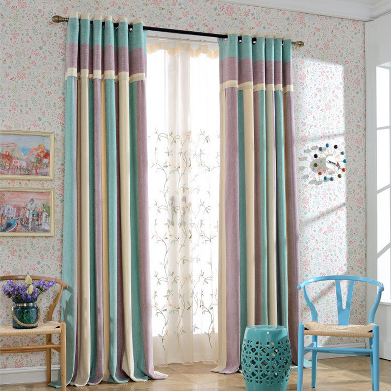 Modern Splice Thick Chenille Strip Curtains For Living Room Ready Made Curtain For Bedroom
