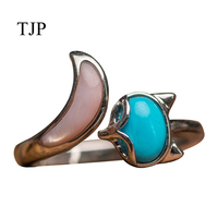 Raw ore pure natural high porcelain blue turquoise female ring 925 silver fox shape shell free shipping