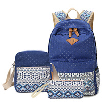 New Casual Women Backpack Canvas Korean School Bags Travel Backpacks For Teenage Girls Preppy Style Dots