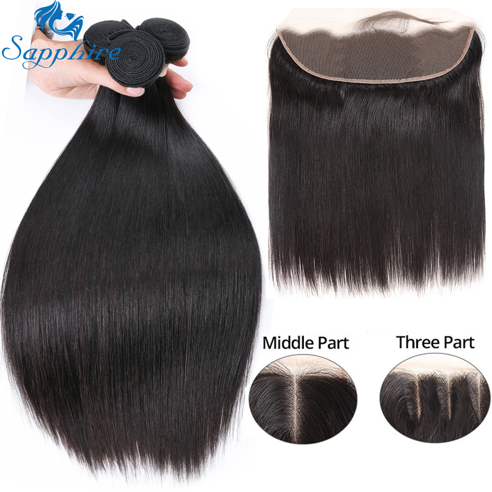 Sapphire Straight Hair Frontal With Bundles Human Hair Bundles With Frontal Brazilian Hair Weave Bundles With Closure Frontal(China)
