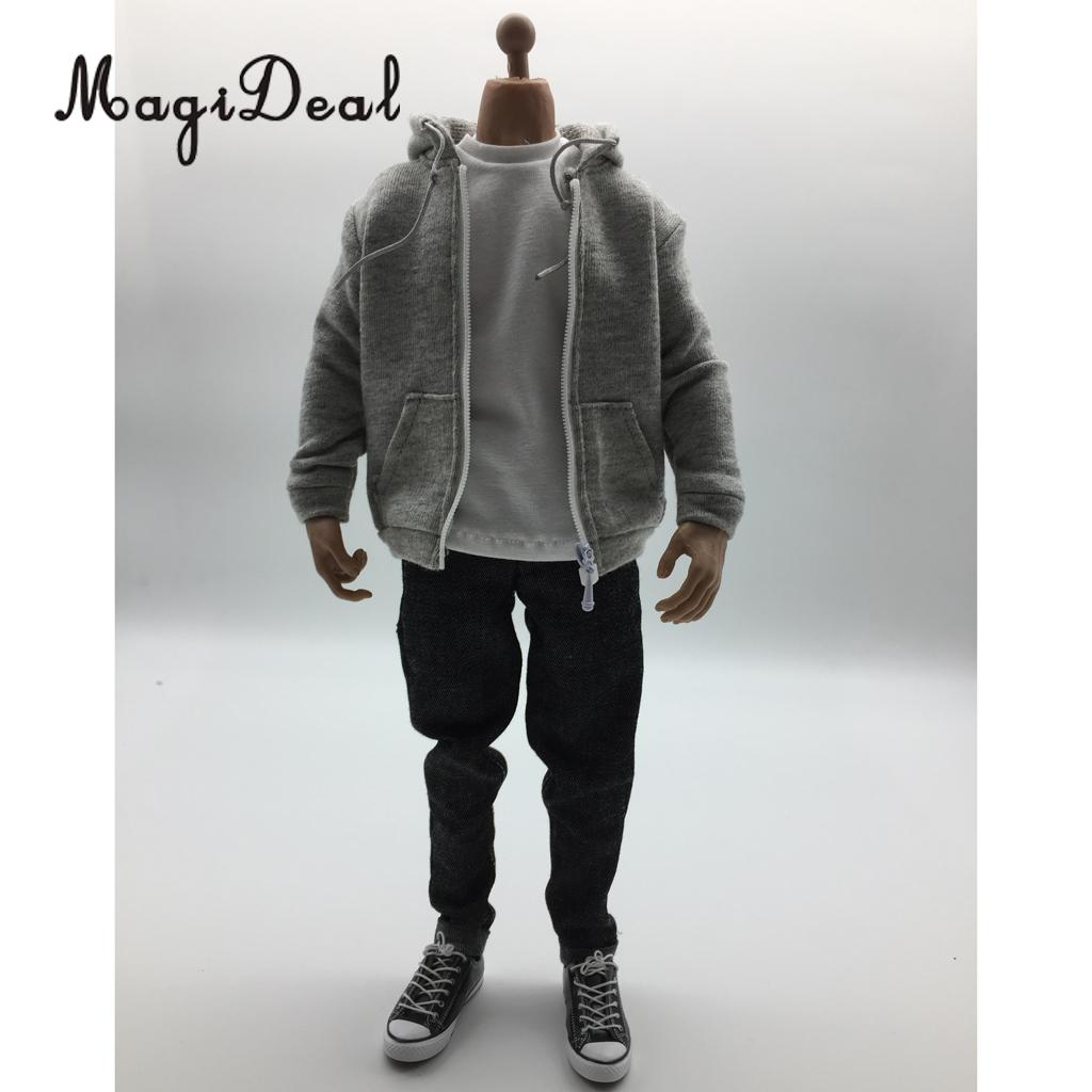 MagiDeal 1/6 Scale Mens Clothes Gray Hoodie T shirt Jeans Belt Cap Canvas Shoes Set for 12 Inch Male Action Figures