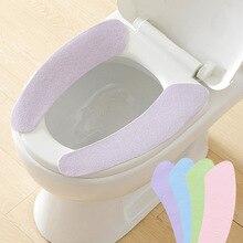 39 cm fibra + pegajoso cubierta de asiento del inodoro de WC pasta de asiento de inodoro de baño calentador de asiento tapa cubierta almohadilla WC Closestool asiento fundas de tapa de inodoro fundas de tapa de inodoro