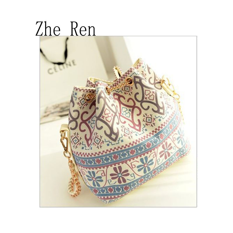 Bags Pearl Pendant Chain Single Ethnic Wind Bucket Drawstring Bag Shoulder Bags Chain Kanken Bag