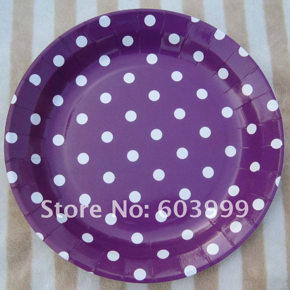 Polka dot purple party supplies package party decorations for Polka dot party ideas