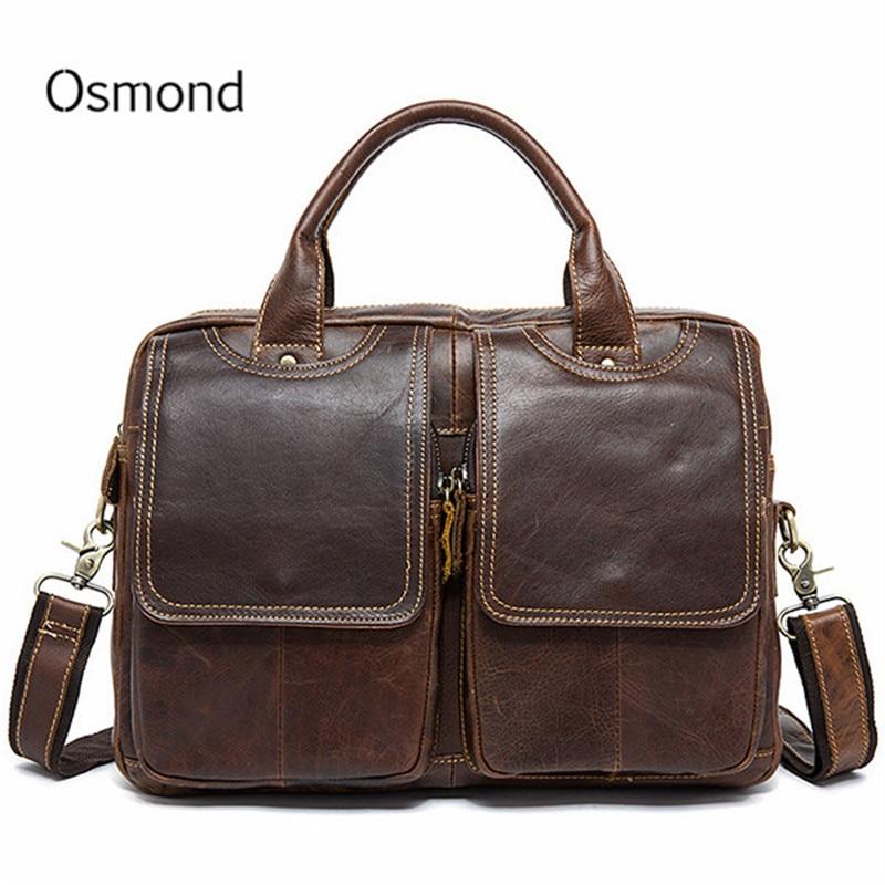 Osmond homme porte-documents fourre-tout en cuir véritable hommes Messenger sacs voyage pochette d'ordinateur d'affaires en cuir épaule ordinateur sac hommes sac