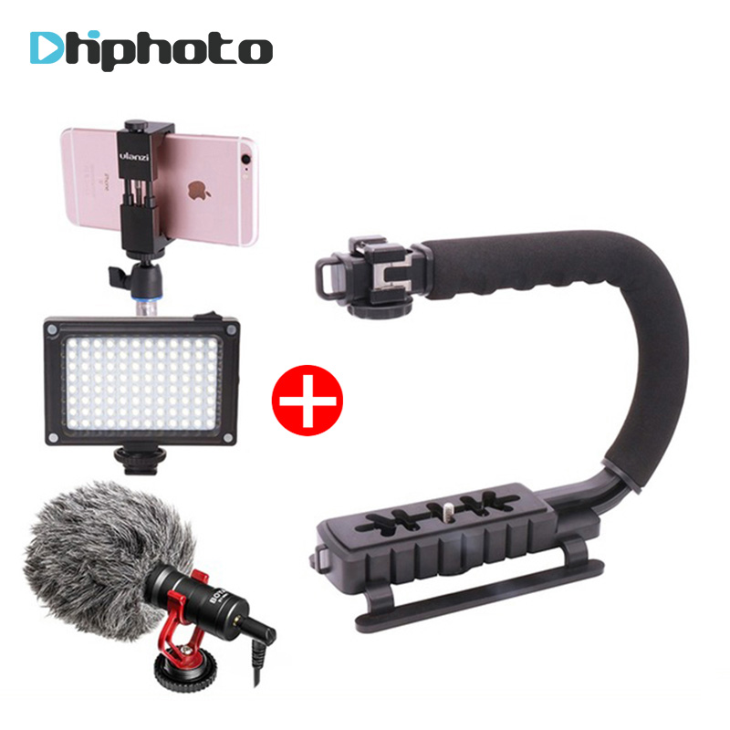 Ulanzi Handheld Phone Video Gear Stabilizer Kit Steadicam with BY-MM1 Microphone LED Light for iPhone 8 7 plus Gopro Nikon DSLR