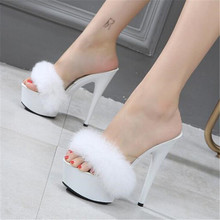 цены WADNASO Women Wedding Shoes Sexy Super High Heels 15CM Sandals Slippers With Feathers Nightclub Summer Pumps White Black Pink