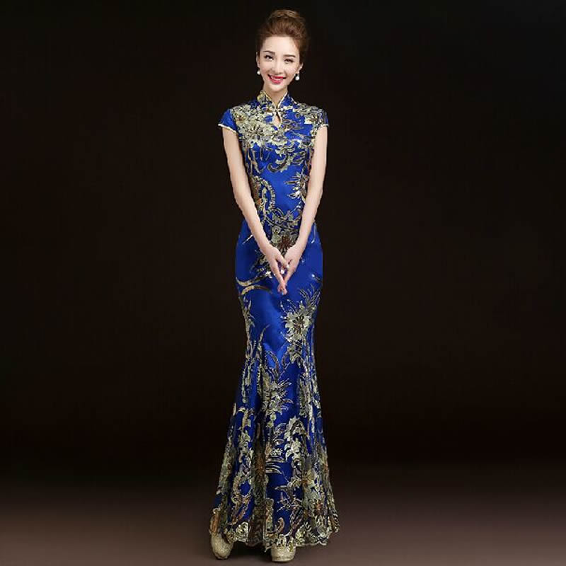 2016 Fashion Red Lace Bride Wedding Qipao Long Cheongsam Chinese Traditional Dress Slim Retro Qi Pao Women Antique Dresses