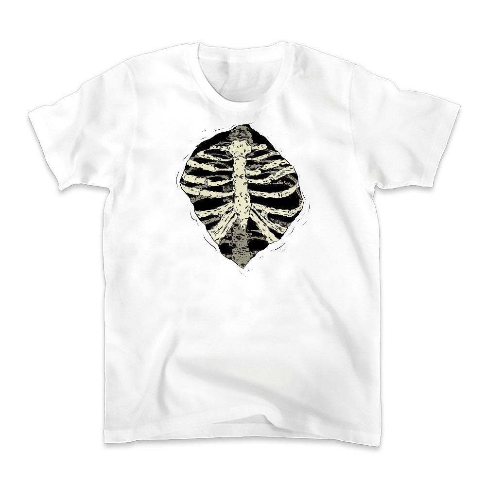 originality skull design Tshirt MEN jollypeach brand new white Casual t shirt homme Creative Spine Ribs Halloween funny t-shirt