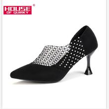 2019 Crystal Sexy Wedding Party Shoes for Women High Heels Sandals Pointed Suede Pumps Women Shoes Thin Heels Summer Shoes Woman cheap Basic High (5cm-8cm) Flock Pointed Toe Slip-On Rubber Spring Autumn Q002 Fashion 0-3cm Fits true to size take your normal size