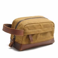 Daygos Genuine Crazy Horse Leather Bag Dopp Kit Cosmetic Bag For Men